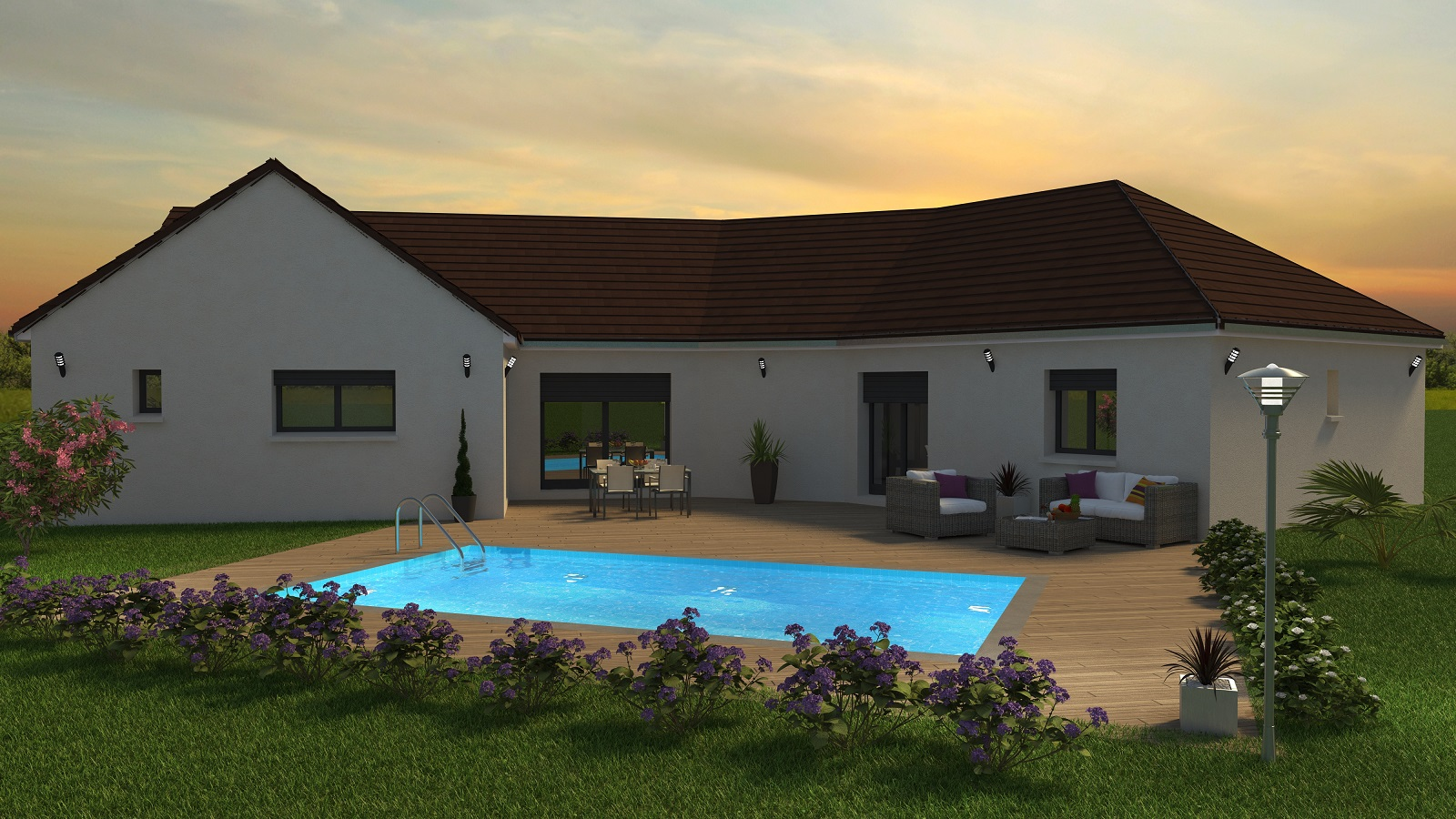 Bourgogne Bâtir coucher de soleil coté terrasse