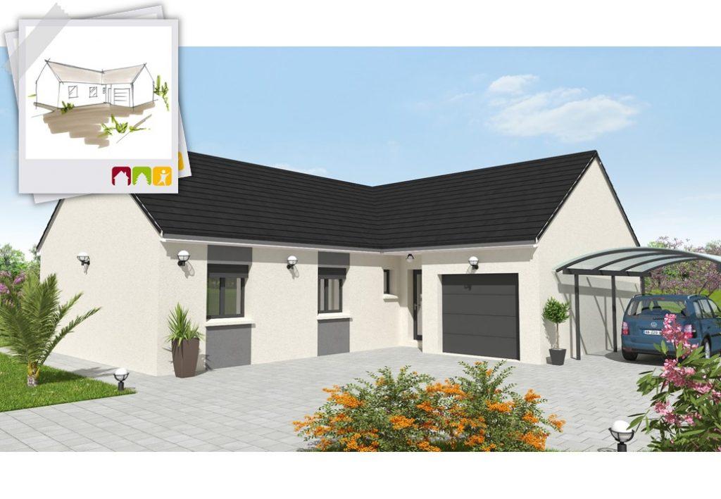 CREATION 4ch - plan maison en L bourgogne bâtir Saône et Loire Chalon sur Saône