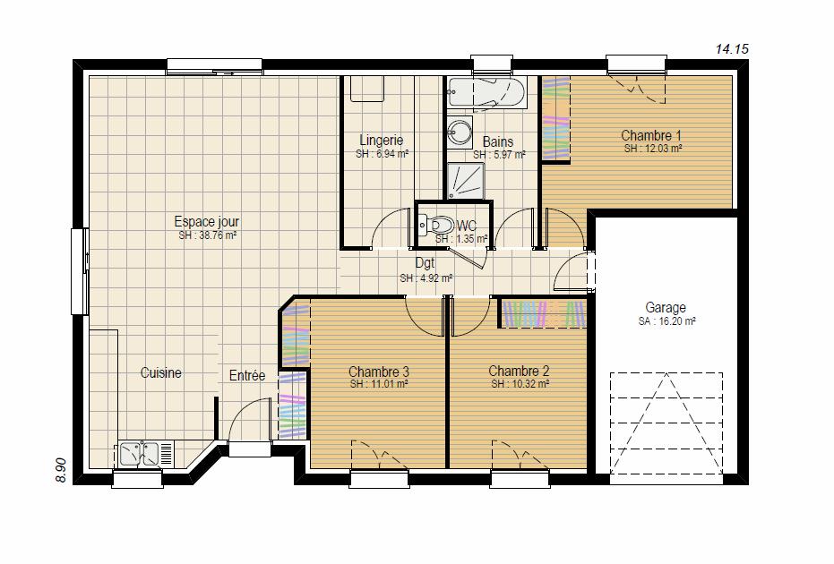 EVASION 3ch - plan maison bourgogne bâtir Saône et Loire Chalon sur Saône