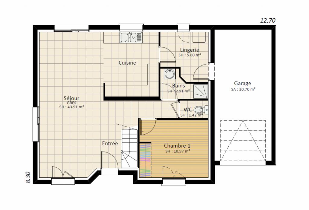 EXPRESSION 4ch - plan maison étage bourgogne bâtir Saône et Loire Chalon sur Saône