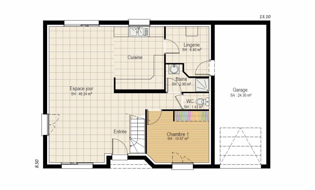 HORIZON 4ch - plan maison combles aménageables bourgogne bâtir rdc Saône et Loire Chalon sur Saône