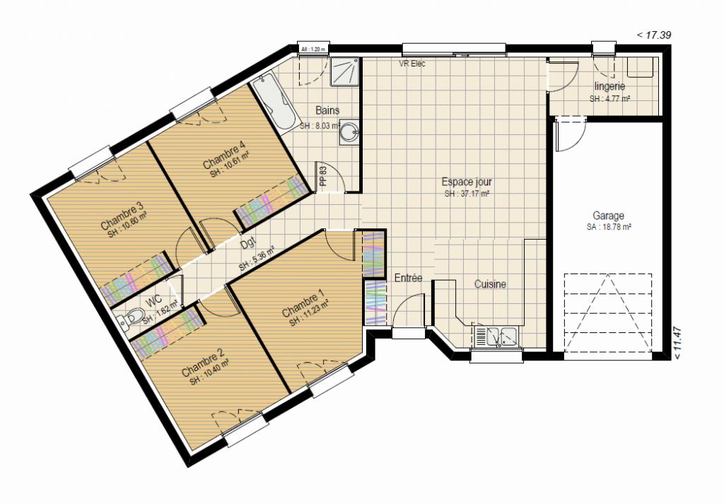 VISION 4ch - plan maison en V bourgogne bâtir Saône et Loire Chalon sur Saône