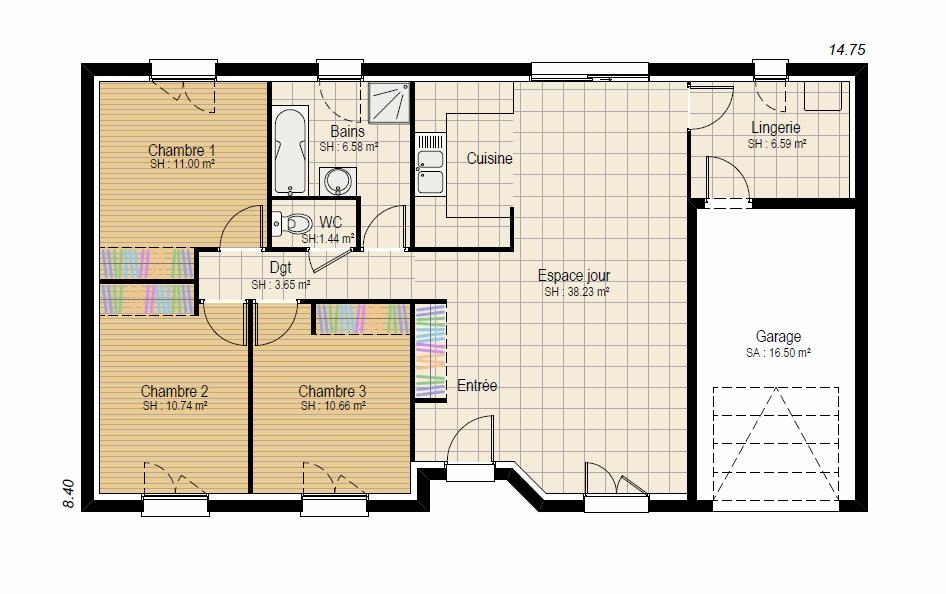 EVOLUTION 3ch - plan maison bourgogne bâtir Saône et Loire Chalon sur Saône