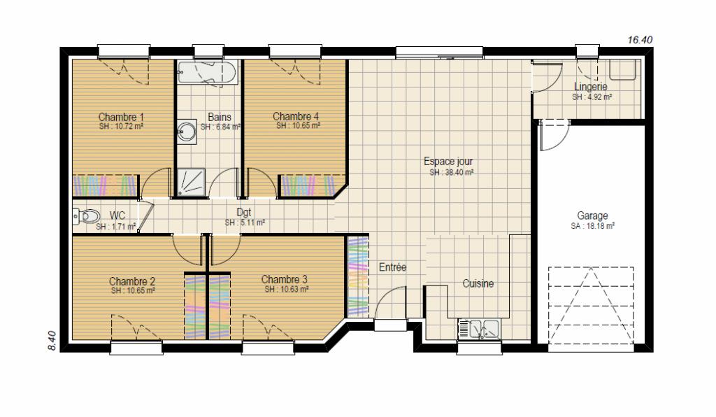 EVOLUTION 4ch - plan maison bourgogne bâtir Saône et Loire Chalon sur Saône