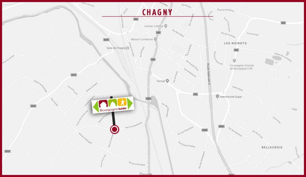 Map Porte ouverte Bourgogne Bâtir à Chagny en Saône et Loire entre Beaune et Chalon sur Saône
