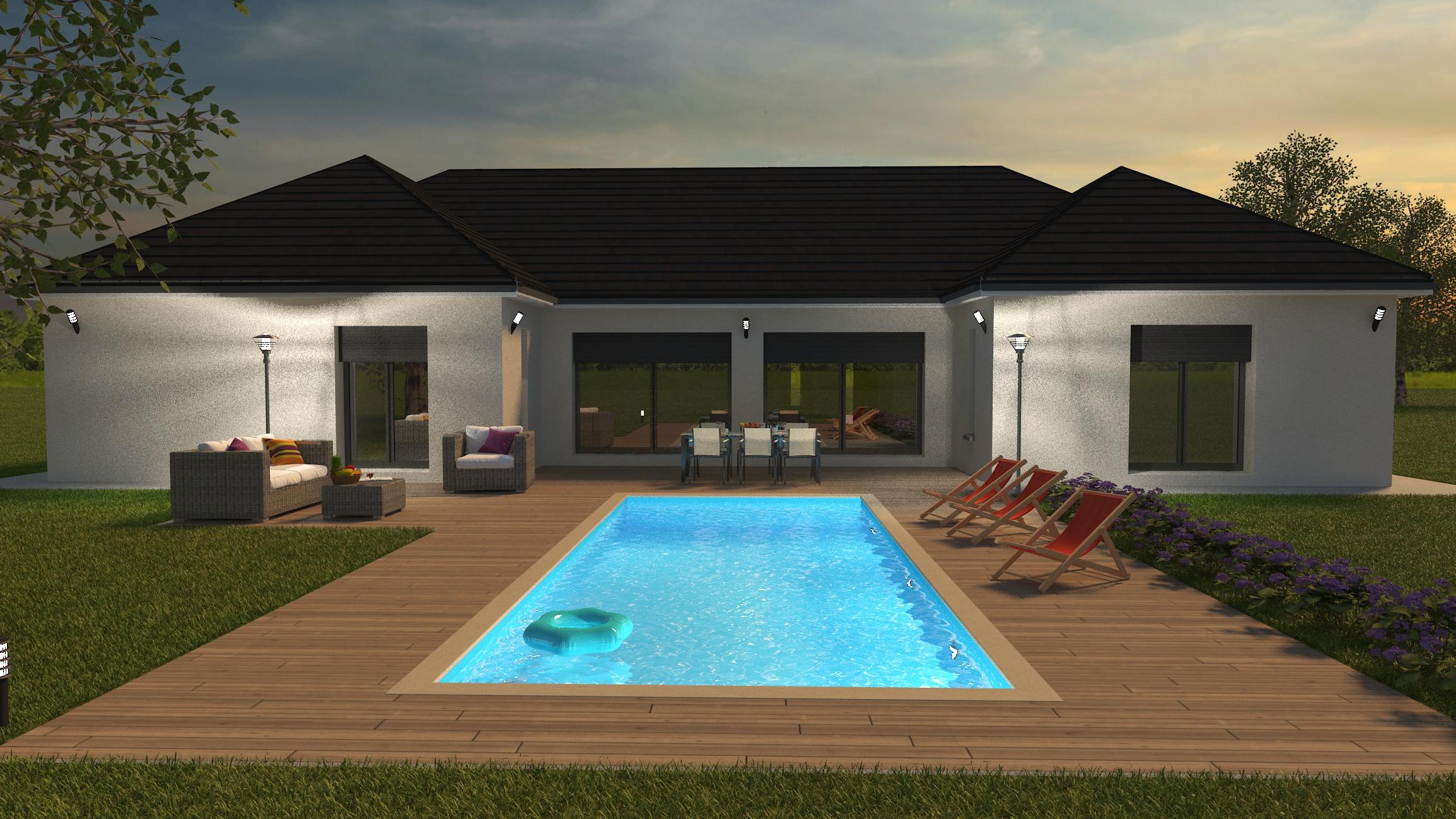 Visuel 3D maison bourgogne bâtir Saône et Loire Chalon sur Saône coté piscine 175 m²