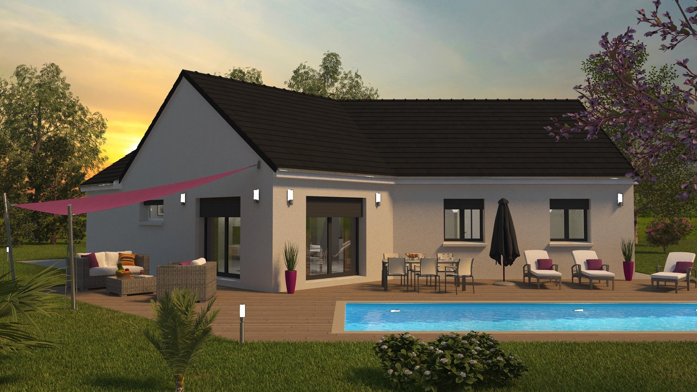 Espace 3 ch coucher de soleil Visuel 3D maison bourgogne bâtir Saône et Loire Chalon sur Saône