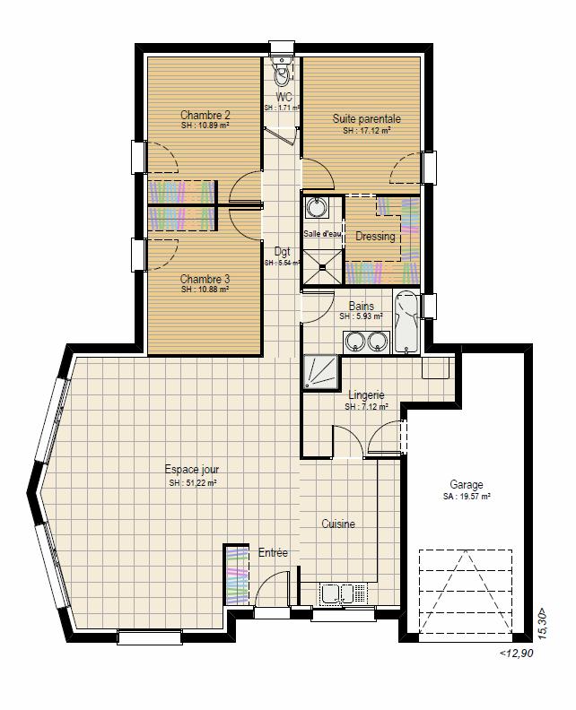 Plan RDC Concept 3 ch - plan maison bourgogne bâtir Saône et Loire Chalon sur Saône