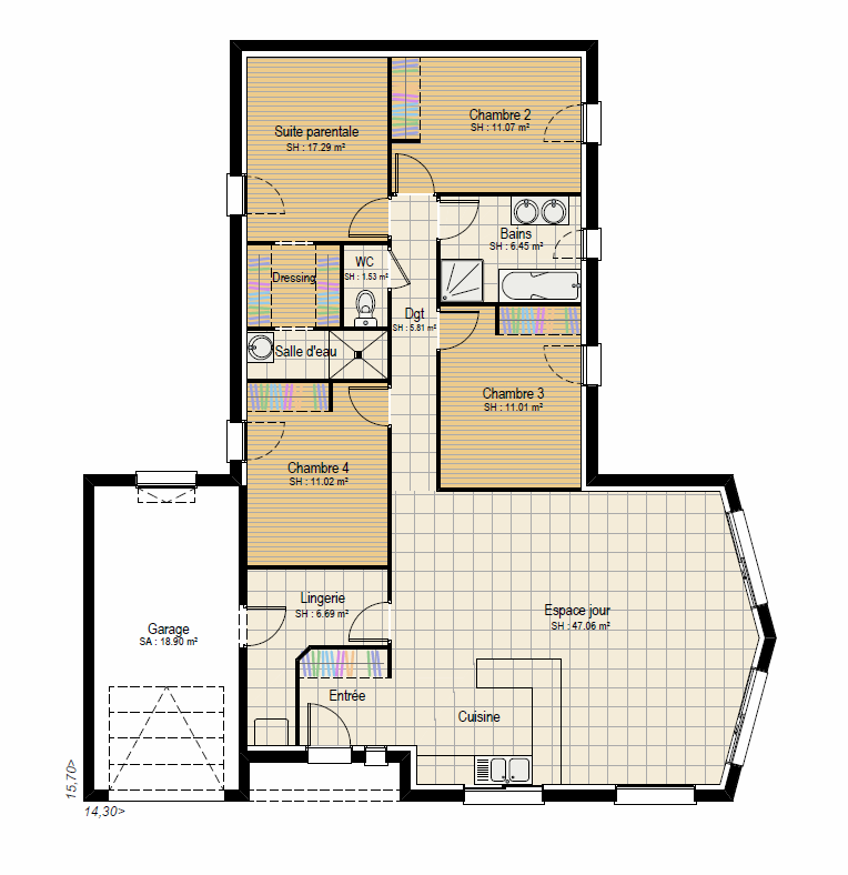 Plan RDC Concept 4 ch - plan maison bourgogne bâtir Saône et Loire Chalon sur Saône