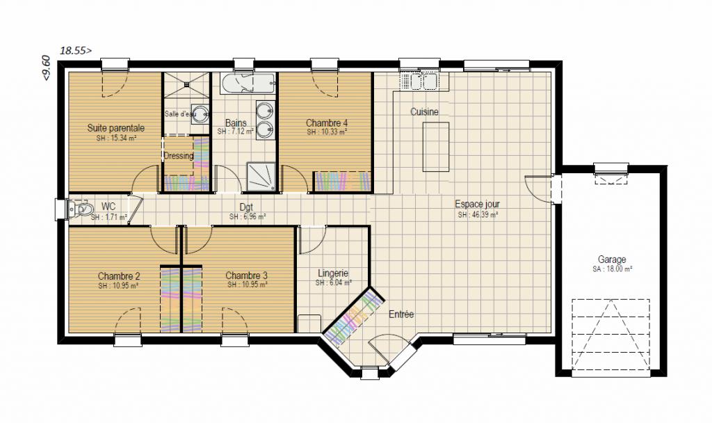 Plan RDC Design 4 ch - plan maison bourgogne bâtir Saône et Loire Chalon sur Saône