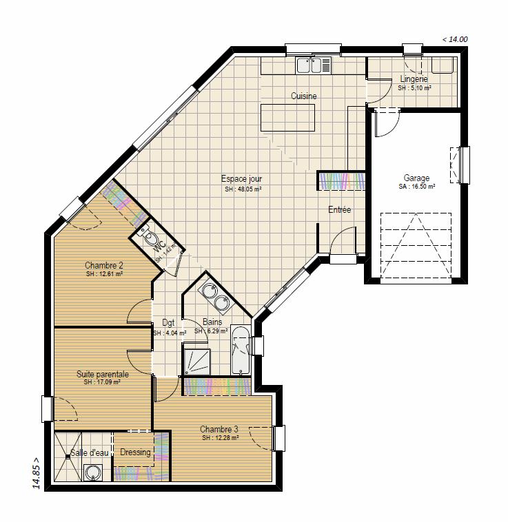 Plan RDC Perspective 3 ch - plan maison bourgogne bâtir Saône et Loire Chalon sur Saône