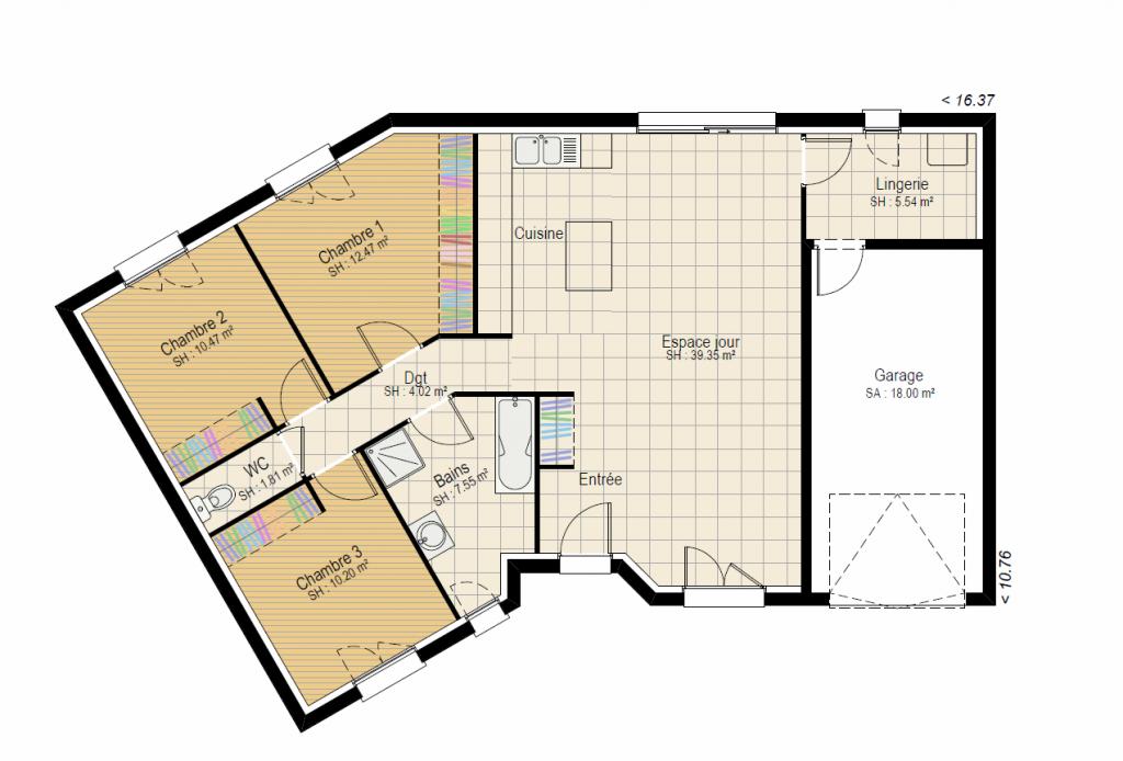 Plan RDC Vision 3 ch - plan maison en V bourgogne bâtir Saône et Loire Chalon sur Saône