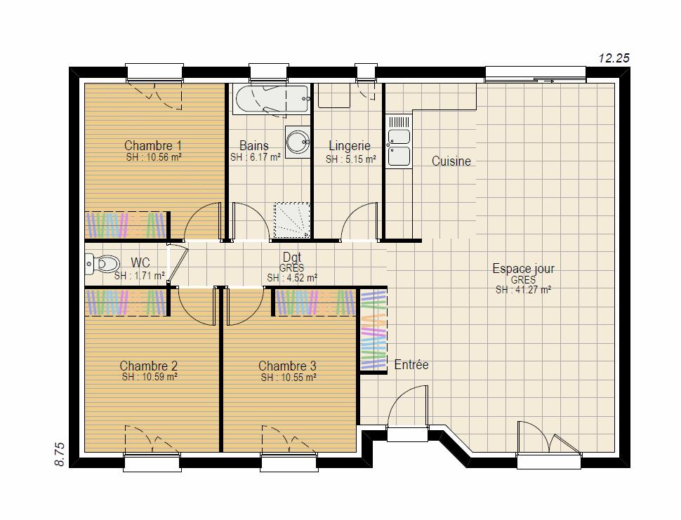 Plan RDC evolution 3 ch sans garage - plan maison bourgogne bâtir Saône et Loire Chalon sur Saône