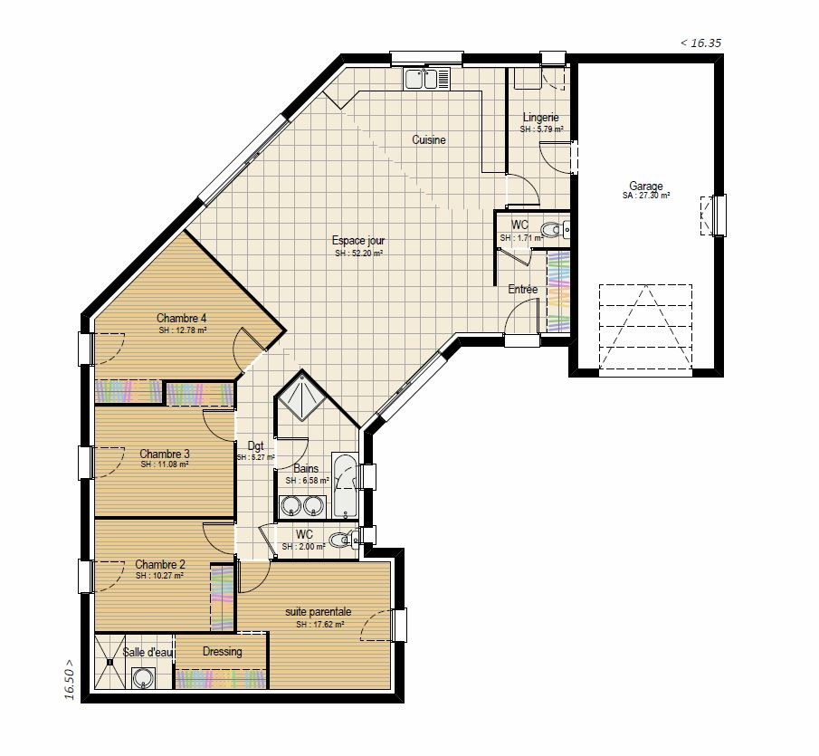 Plan RDC perspective 4 ch - plan maison bourgogne bâtir Saône et Loire Chalon sur Saône