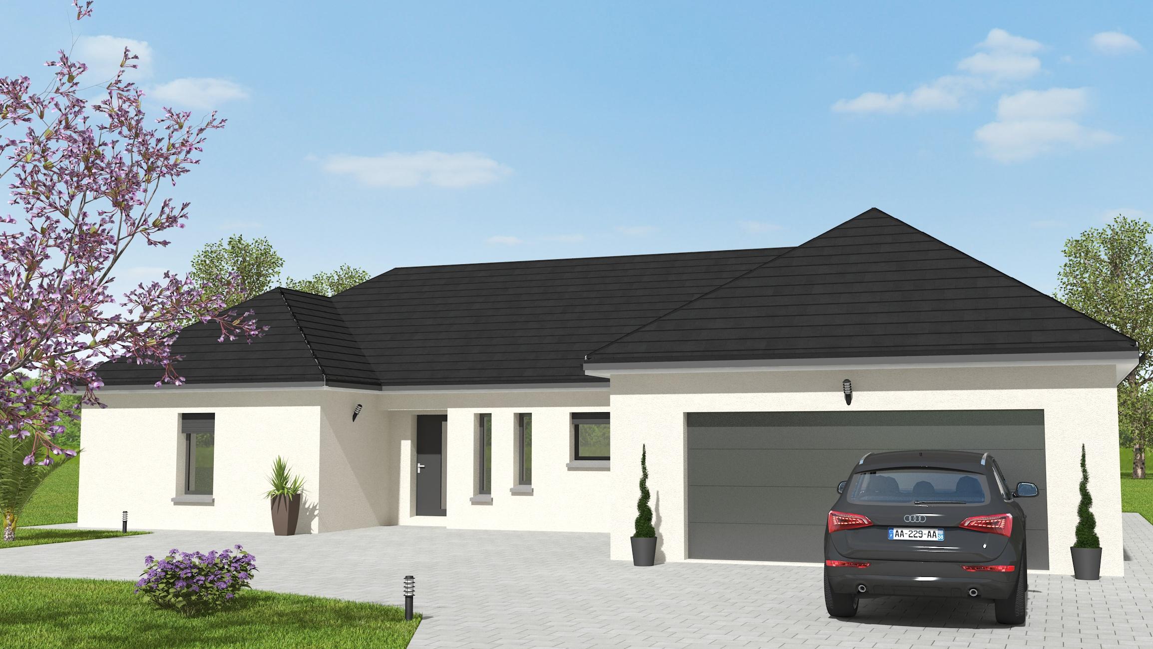 Visuel 3D maison bourgogne bâtir Saône et Loire Chalon sur Saône devant 175 m²