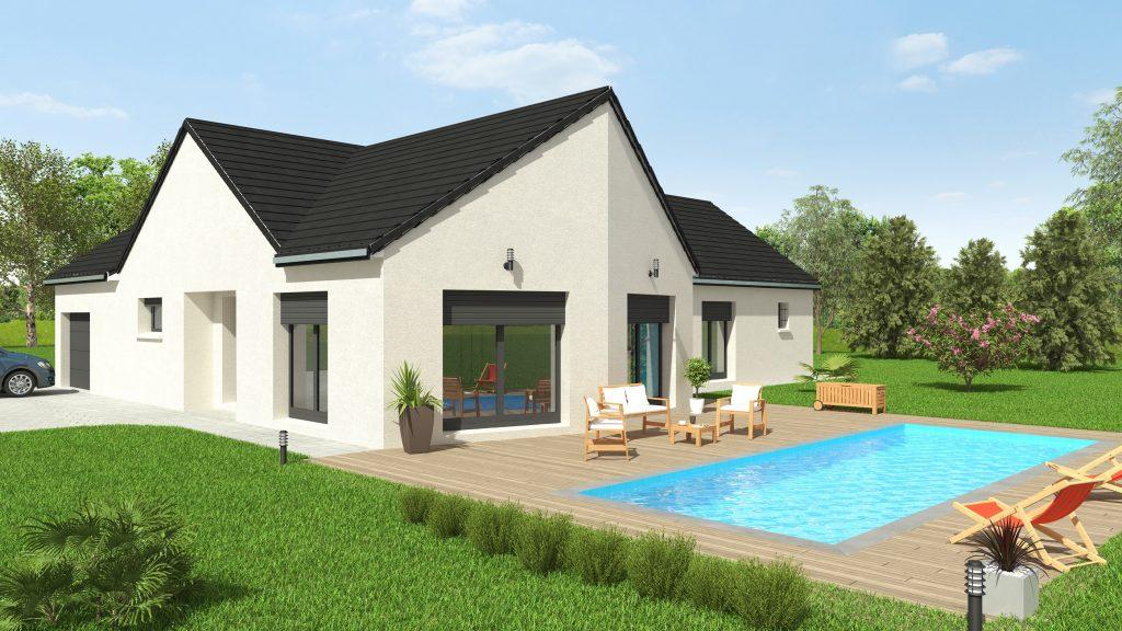 Visuel 3D maison bourgogne bâtir Saône et Loire Chalon sur Saône coté piscine